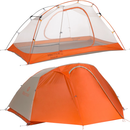Camp and Hike The ultralight Marmot Astral 2-Person 3-Season Tent handles well in spring and fall, but thanks to its mesh canopy and open construction, it really shines during the dog days of summer. Primarily made from No-See-Um net, the tent body provides optimal ventilation to prevent clamminess and condensation, and if the rains should come the PU-coated fly and fully taped seams have got you covered. A color-coded Easy Pitch setup and reflective guy out points mean the end of fumbling in a mess of tent parts, even when you arrive at camp after sunset. - $398.95
