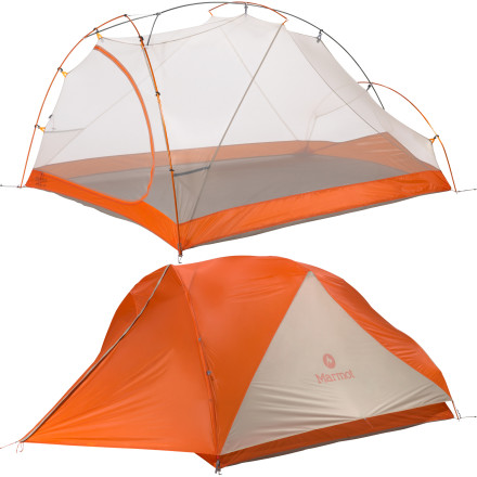 Camp and Hike The Marmot Eclipse 3 Tent shelters you and two of your backpacking buddies without weighing down your pack. The Eclipse 3 smartly uses space so you can cut down to one sturdy shelter'rather than haul three bivies or a two-person and a separate solo tent'for three-person, three-season enjoyment. - $438.95