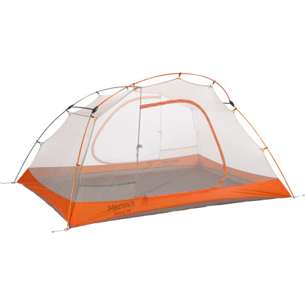 Camp and Hike The Marmot Astral 3 Tent uses a mostly mesh canopy to give you plenty of ventilation when warm weather and close quarters call for lots of fresh air. If wet weather shows its face, the silicone-treated fly shields you from the rain so you and your two buddies stay dry. - $458.95