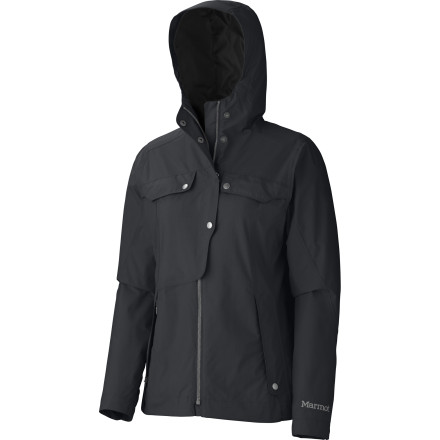 Fitness Before walking the northwest shoreline on a gray rainy day, zip up the Marmot Women's Ashton Jacket. The waterproof and breathable MemBrain shell shrugs off wet weather while the unique cut and snap pockets lend enough style to drop by your favorite coffee house on the way home. - $174.95