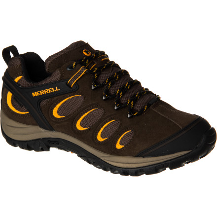 Camp and Hike The Merrell Men's Chameleon 5 Waterproof Hiking Shoe is your ticket to covering maximum ground in minimum time, especially when the type of ground you're covering is constantly changing. The Gore-Tex Performance Comfort membrane keeps you dry when you bushwhack through dew-soaked foliage at first light and then breathes to keep you comfortable when temps rise later in the afternoon. Plus, the Vibram Chameleon sole is designed to grip just about everything you'll encounter underfoot. - $149.95