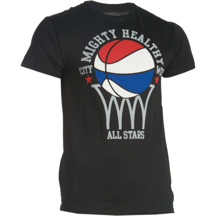 The Mighty Healthy Ballin T-Shirt magically enhances your street skills to hustlin' status. Rain thunderous dunks on your opponents, and make it rain as many threes as it does tears while you mop the court with them and their dollar bills. - $10.38