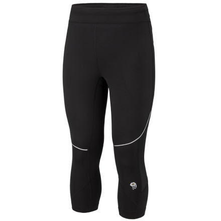 Ski The Mountain Hardwear Might Power 3/4 Tights are ideal for ski touring or ice climbing where you want protection for your knees without extra fabric crammed into your boot tops. Stretch jersey fleece and mesh panels maintain warmth and breathability for comfort in a mountain environment. An inseam gusset increases mobility when you're high-stepping, while flatlock seam construction eliminates excess chafing when you're on the go. - $25.98