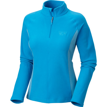 Whether you're layering up for a day on the slopes or stretching in preparation for an early-morning jog, turn to the Mountain Hardwear Women's Microchill Zip-Top for fleecy warmth and next-to-skin comfort. The breathable grid fleece side panels stretch for unrestricted mobility, and the quarter-front zip allows you to vent out when things heat up. - $79.95