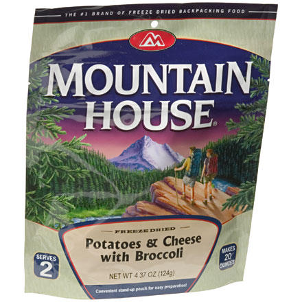 Camp and Hike Mountain House's Potatoes and Cheddar with Broccoli for two is a hearty vegetarian meal that's ready in seconds. Just add boiling water to the freeze dried meal in its foil pouch and wait for your backcountry masterpiece. - $4.99