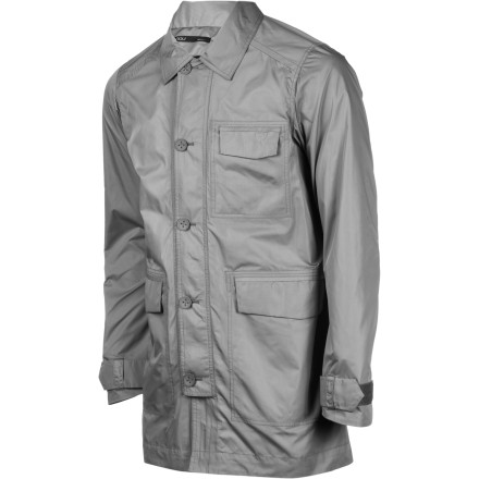 The NAU Men's Motil Trench Coat mixes technical fabrics with cutting-edge style to give you a smart, clean look that could easily hold its own at a post-fashion show champagne party. Plus, it will protect you from the wind and the rain so you won't be a weather-beaten wreck when you arrive. - $249.95