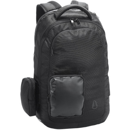 Camp and Hike If you take your computer everywhere with you, it'd be wise to protect your investment with the Nixon Shadow 1K Backpack. It has a shock-resistant laptop sleeve to protect the contents of your computer from getting jumbled when you're out and about, and it has aside-access zipper so you can get to your laptop quickly and easily in case there's something on your mind that you simply HAVE to post on your social media network immediately. - $149.95