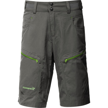 Camp and Hike For a trek into the woods, put on the Norrna Bitihorn Lightweight Short and strap into your backpack. These breathable shorts fit with your pack and stay on your waist thanks to the side hook-and-loop straps. The long legs protect your knees while scrambling up sharp boulders, and a stash pocket keeps your most valuable items from falling off the side of the mountain. - $58.61