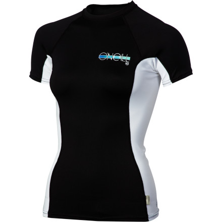 Surf The serious, surf-centric O'Neill Women's Skins Crew Rashguard features quick-drying four-way stretch in a performance fit with flatlock seams and UPF 50 sun protection. It's everything a surfer-woman needs and nothing superfluous. - $36.95