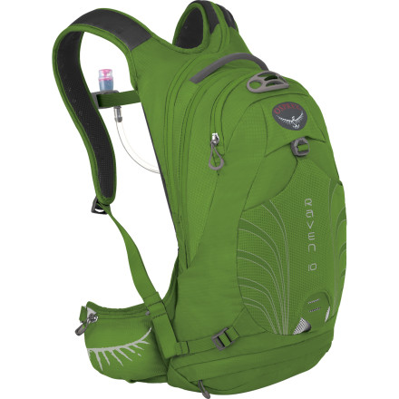 Fitness Whether you're mounting up for a cross country loop or crushing downhill runs at the resort, shoulder the Osprey Women's Raven 10 Hydration Pack for an unrivaled fit and easy thirst quenching. The three-liter Hydraulics Reservoir is shaped to match the profile of the back panel for improved balance and less sloshing, the magnetic bite valve keeps the hose from whipping around when you fly down the steep straightaways, and the pack size allows for an extra layer and a snack. - $118.95