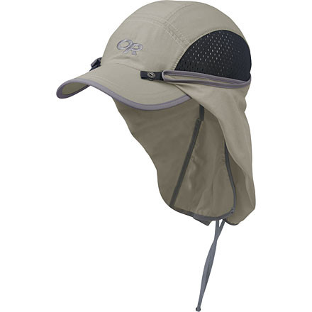 Camp and Hike Even if the sun is blinding, enjoy your after-work jog with the Outdoor Research Sun Runner Cap on your noggin. Outdoor Research constructed this stiff-brimmed hat with UPF 30+ SolarShield Fabric and gave it a removable sun skirt for total protection. The Sun Runner Cap's side air vents and moisture-wicking Coolmax headband keep you cool and comfortable, while the adjustable Cinch-Strap gives you a custom fit. - $34.95