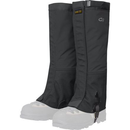 Climbing From high-altitude peaks to frozen pillars to thorn-infested forests, the proven Outdoor Research Men's Crocodiles Gaiter has been there, done that, and will gladly do it all over again. The guaranteed waterproof and breathable 3-layer Gore-Tex is built to perform in the harshest environments while the strategically placed 1000D Cordura prevents damage from pointy crampons, sharp granite, and hard-shell boots. - $74.95