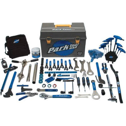 Fitness While the Park Tool AK-32 kit gets the job done for most, the Park Tool PK-63 Professional Tool Kit has literally every last item you'd need to rip your bike down to the frame then build it back up again -- including the latest tools you need to deal with external bottom brackets. Headset press, crown race setter, derailleur hanger adjustment gauge, wheel dish tool -- the list of serious mechanicing tools goes on and on. This is a comprehensive package to turn your garage into a bicycle OR. - $475.00