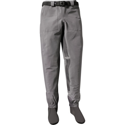 Flyfishing When the weather is warm and the river is running low, pull on the lightweight Patagonia Men's Gunnison Gorge Wading Pant. The three-layer H2No Performance Standard fabric lends tough durability and waterproof breathable protection while the anatomically shaped knees and booties provide unrestricted mobility and all-day comfort. Plus, an internal waterproof utility pocket keeps your camera safely stowed so you can snap a few pictures of that 22-inch brown. - $299.00