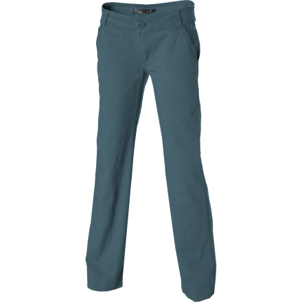 Thank prAna for the smart decision to combine a bit of spandex with the durable yet soft cotton twill in the Women's Abigail Pant. As one of prAna's lifestyle line, the Abigail pant suits a cross-globe adventure with your best mate as much as a day on the rock. - $34.98