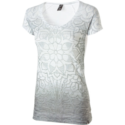 Welcome a fresh new day when you wear the prAna Women's Goddess Short-Sleeve Shirt. Lightweight burnout fabric keeps you comfortable and cool, and the rich sublimation mandala print lends a warm artsy look. - $54.95