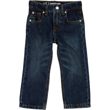 Surf It's never too early to get him into the great American tradition of blue jeans, and what better way to do it than with the Quiksilver Revolver Toddler Boys' Denim Pant' It's made with 100% cotton denim and has a classic straight leg fit to make him one stylish-looking tot. - $42.00