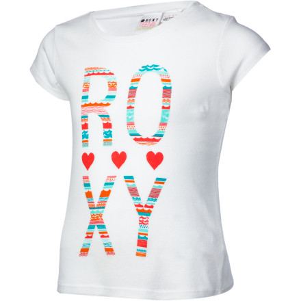 Surf There's nothing more pretty-girlish than a baby tee, and the Roxy Girls' Clear Eyes Shirt takes on this classic shape and adds a surfer-girl graphic and splashy color. It's all sporty fun and no filler. - $18.00