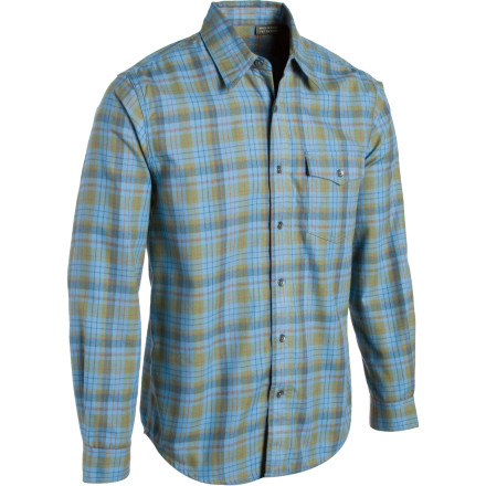 Entertainment Slip into a relaxed, in-the-woods mentality with the Royal Robbins Lewiston Shirt. Comfortable and rugged polyester flannel offers sun protection rated to UPF 50+, and let's face it: it looks pretty good, too. Stash a cigar in your chest pocket for a triumphant and manly celebration while cooking on the cabin deck later. - $27.18