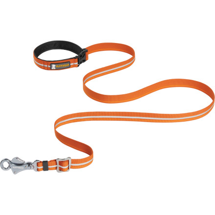 Camp and Hike You could use your old climbing rope as a dog leash, but you have to tie it in place, your makeshift loop handle isn't very comfortable to hold, and you can't adjust the length. Make your life easier with the Ruffwear Slackline Leash. This leash features a quick-clip collar attachment you can clip and unclip with one hand, a padded handle to take the bite out of every tug from Fido, and an adjustable length. Eventually you're going to need to leave your pooch outside while you hit the store too, so Ruffwear added a quick-release buckle to the leash handle so you can attach the Slackline to a post, fence, or tree easily. - $39.95