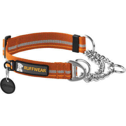 Camp and Hike Tired of your dog bolting and tearing your arm off every time a squirrel comes into view' The Ruffwear Chain Reaction Collar can help. With three-quarters webbing and one-quarter cinching chain, this collar cinches around your dog's neck to provide audible on-leash correction but, unlike many other cinching collars, the Chain Reaction has a distinct cinch limit so it can't get harmfully tight. Some dogs just need a little reminder to pull in the reigns, and this adjustable collar is a responsible way to deliver the message. - $24.95