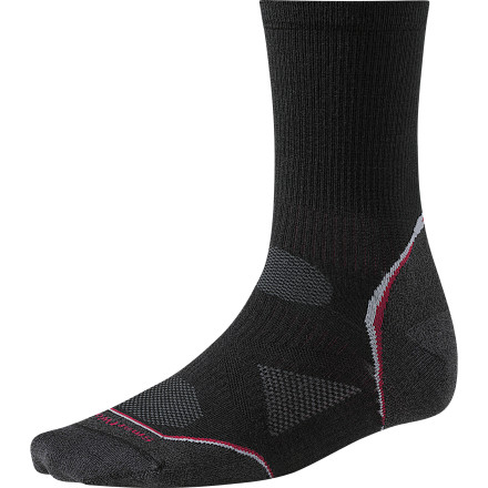 Fitness The SmartWool PhD Cycling Ultra Light  3/4 Crew Sock provides the cyclist (that's you) with cool, dry, all-summer comfort. The comfortable  3/4 length eliminates the bunching and binding that normally makes you get off your bike and start shouting incoherently at passing motorists. - $17.95