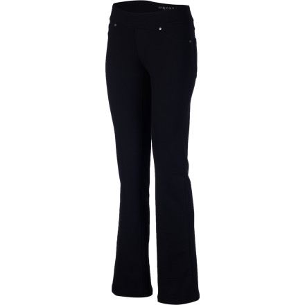 Fitness The high performance and stretch of the Soybu Women's City Pant combined with its versatile, urban style make this a true go-anywhere pant. This classic jean-style pant made from stretchy, breathable, sweat-wicking, wrinkle-free, and quick-drying Power Flex goes from power walks in the park to an uptown lunch to afternoon yoga-flow class without hindering mobility or style. And it retains its shape from sunup to sundown. Talk about beautiful performance. - $77.95