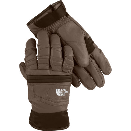 Ski Burly knuckle guards and a tough goat leather shell make the insulated The North Face Snohund Glove an ideal choice for rugged work or play during the winter. Two types of synthetic insulation provide warmth from the palm to the back of your hand, and a water-resistant leather coating fends off soggy snow and wetness. Slide your hand inside this microfleece-lined glove an unload firewood from the truck, hit the cross country ski track, or build a towering snow fort for the neighborhood kids. - $49.98