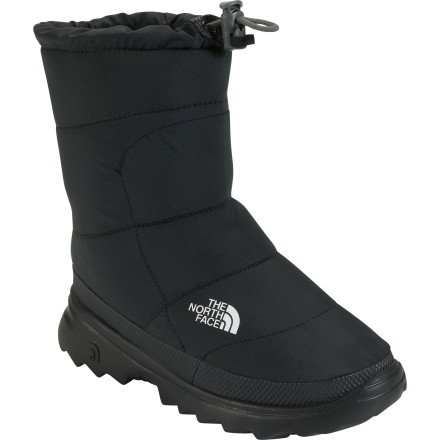 Ski Whether your boy is just sliding off his ski boots after a day on the slopes or relaxing at home by the fire, the North Face Boys Nuptse Bootie II warms his toes and spirits. And although they're not intended to be used as his go-to winter boot for super slushy snow, the upper's water-resistant coating fends off light precipitation and the grippy EVA outsole provides traction when the going gets slippery. - $29.97