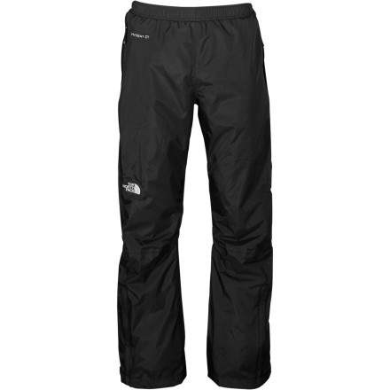 Camp and Hike Stuff The North Face Venture Pant into its own pocket, toss it in your pack and have a pair of rain pants handy in case the sky opens up. Waterproof breathable HyVent fabric keeps you bone dry and extra comfy. With a classic, minimalist design these pants protect you in the outdoors from early spring through late fall. - $79.95