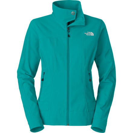 While the wind in your hair can feel fabulous, chill-inducing gales through your bones do not; find shelter in The North Face Women's Calentito Softshell Jacket. Made from TNF Apex Universal, a wind- and water-resistant yet breathable wonder-fabric, this versatile softshell keeps you dry and cozy from uptown to downtown or from trail to park. A brushed tricot backer feels soothingly soft next to skin while an urban-inspired shape and metal snap at the collar provide style. - $98.95