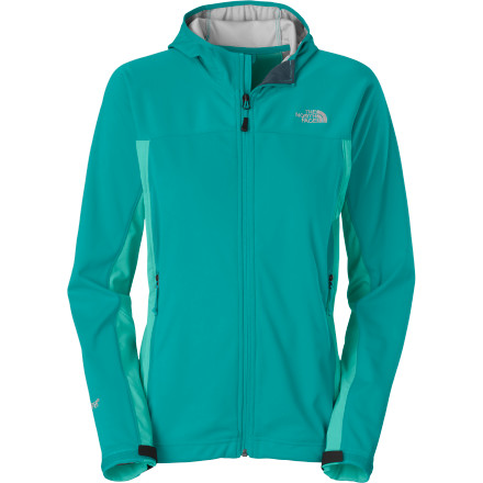 The North Face Women's Cipher Hybrid Softshell Hooded Jacket, made from totally windproof  WindStopper and four-way stretch TNF Apex Aerobic softshell, will fend off the wind while you reach high and contort to make that crux move. Seal yourself up with this hoodie's elasticized hood, molded cuff tabs, and cinch-cord hem for bomber coverage. And, with underarm gussets for increased mobility, the sky's the limit. - $169.95