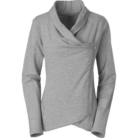 Worn open and loose or zipped up in easy elegance, The North Face Women's Sharlet Wrap gives you a stylie option to your hoodie-filled wardrobe. Made from stretchy and soft French terry, this lightweight smoothie drapes you in cozy comfort from park to shore to uptown eatery. - $64.95