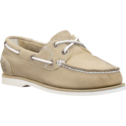 Some styles truly are timeless, and the Timberland Women's Earthkeepers Classic Boat Unlined Boat Shoe is certainly among them. The unlined leather uppers are designed to be exceptionally comfortable when worn without a sock and the partially recycled Green Rubber outsole is siped for solid traction on wet surfaces. - $71.96