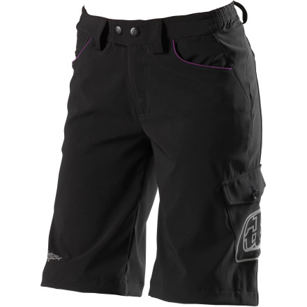 MTB You're a woman, and you don't need to look like a man while you send it over tabletops or lay into turns. Most riding shorts, even women-specific ones, have a boxy cut. The folks at Troy Lee Designs feel your pain. Women's Skyline Shorts are packing all the performance of serious riding shorts, but with a cut that better accents your shape. The Skyline's main body is made with two-way stretch lightweight breathable polyester, so you won't ever feel it bind as you contort in mid-air. A large stretch panel at the back gives you even more freedom of movement. The fabric lets your skin breathe to regulate its temperature while it wicks moisture away. Pockets are located on the sides of the legs so you can't feel the contents while you pedal. The Women's Skyline short also has a women-specific fit that accents your shape more than a boxy men's short. Belt loops allow you to dial the fit exactly. Troy Lee Designs Skyline Shorts are available in even sizes from S to XL. They come in Black and Grey. - $54.36