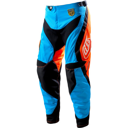 MTB You wear a helmet and gloves, so why not protection from the waist down' Troy Lee Designs SE Pro Corse Mountain Bike Pants are inspired by the tough, rider-specific pants that motocross racers have been wearing for years. SE Pro Corse Pants are made with tough 500D polyester and 900D perforated mesh for a perfect combination of durability and cooling airflow. The breathable mesh liner allows air to flow through and cool you down. The fabric lets your skin breathe to regulate your  temperature while it wicks moisture away. A front shuttle pocket holds your keys or a multi-tool. Troy Lee even used tough TPR for the thigh logos to add a measure of protection.To ensure the best possible fit, the designers at Troy Lee gave the SE Pro Corse Pant and adjustable waistband. Hook-and-loop adjustments on the sides of the waistband allow you to change the waist size a full two inches. Stretch panels in the crotch  and rear yoke ensure a full range of motion so you never feel the Pro Corse bind up. There are also stretch panels at the back of the knee and at the calf for total comfort and an unlimited range of motion. Troy Lee Designs SE Pro Corse Pants are available in even sizes from 28 to 38. They come in Blue/Orange and White/Black. - $135.96