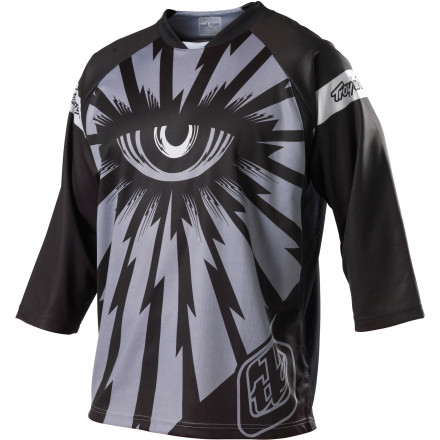 MTB The folks at Troy Lee Designs have always pushed their graphics to the next level. After all, the company started as one kid in his parents' garage air-brushing his friends' moto helmets. Once again, they step up and deliver with the Ruckus Cyclops Jersey. You won't be able to see the future with this third eye, but other riders will definitely be able to see you. Troy Lee Designs used moisture-wicking polyester to make the Ruckus Cyclops Jersey. As you sweat, the polyester pulls the moisture away from your skin to keep you dry and comfortable. Breathable mesh side panels allow air to flow freely through the jersey to cool you down and let your skin breathe easily. A hidden, zippered stash pocket lets you hide your keys, and an engineered rear neck panel makes the jersey more comfortable whether you're seated or standing. Most importantly, though, the 3/4-length sleeves protect your skin from the sun, cover your elbow pads, and won't interfere with your gloves while you ride. They look good, too. The Troy Lee Designs Ruckus Cyclops Jersey comes in sizes S through XL and is available in Grey, Purple, and White. - $39.96