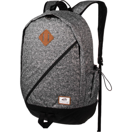 Skateboard The Vans Gannett Backpack offers a fresh, asymmetrical take on the retro-backpack craze. The Gannett features a dedicated laptop sleeve, and articulated shoulder straps to keep you comfortable when you're lugging a heavy load. - $49.95