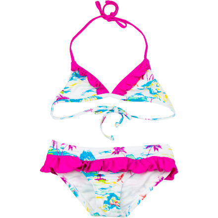 Fitness Everything's better with ruffles, hence the flirty and girly Hurley Girls' Flamo Triangle & Ruffle Retro Swimsuit. With tropical sweetness and sporty style, this classic silhouette shines with a modern twist. Because your surfer-girl can have it all: thrills and frills. - $39.95