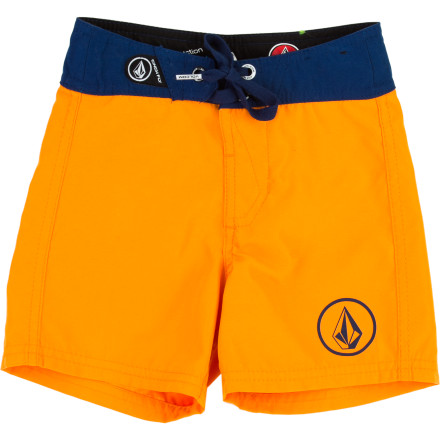 Surf Make sure he shows up to swim lessons in style with the Volcom 38er Toddler Boys' Board Short. The polyester fabric has plenty of give so it won't hold him back while he's practicing his kicks, and it dries quickly so he's not shivering on the side for too long after he gets out of the water. - $31.95