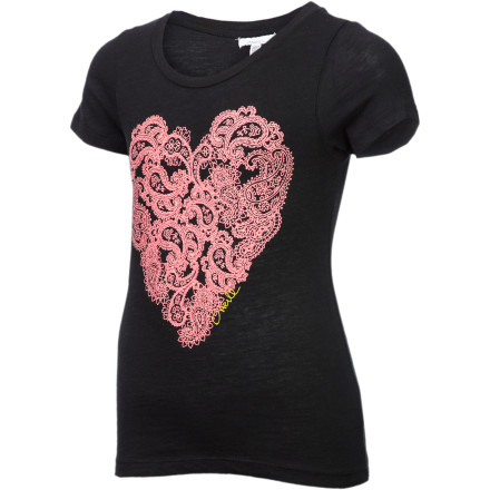 Surf The designers at O'Neill know that every girl loves glitter and hearts and gives your surfer-girl both in the Paisley Dream T-Shirt. Made from feel-good cotton slub and adorned with a sparkly heart, this will bring out the warm fuzzies in all her friends and fans. - $21.95