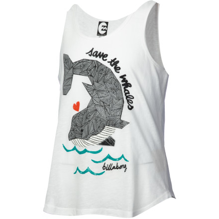 Surf Let your little surfer express her love for whales while looking cool and super-cute in the Billabong Girls' Swimming All Day Tank Top. She'll love the pretty portrayal of her beloved beast, and you'll love the easy-care polyester-cotton construction. - $16.16