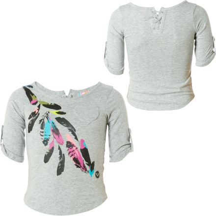 Surf When you stop and listen to some of the stuff your little girl says, youre pretty sure shes from Bizarro World. Nurture her uniqueness with the Roxy Dreamy Shirt. Tab sleeves and lace-up detail at the back collar set this top apart from the rest. - $5.90