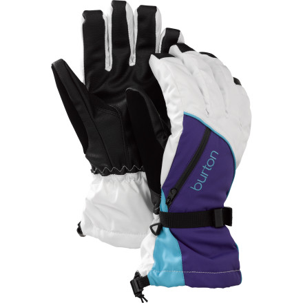 Snowboard Prepare yourself for all the conditions you'll face in a season with the Burton Baker 3-in-1 Women's Snowboard Glove. It has a removable liner that can be worn alone on late spring days, or can be paired up with the insulated shell for mid-winter storms. The shell can also be worn alone, and has a vent pocket that can either be used to allow heat to escape if your hands get warm, or can be stuffed with a handwarmer when your fingers are really feeling frozen. - $45.43