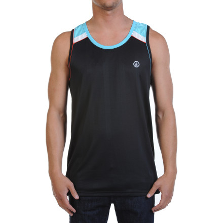 Surf Stay sporty, cool, and dry in that pick-up game with the Volcom Men's Mesher Tank Top. Made from vertical mesh jersey, this quick-drying, breathable tank lets you get down and dirty even when the heat is on. But its cool style means you can wear it downtown for a post-game pint without looking like a gym geek. - $39.45