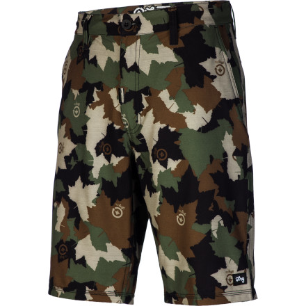 Fitness Don't limit yourself to just one activity today. The LRG Core Collection Salamander Camo Men's Hybrid Short has the look of a chino short but is made with quick-drying polyester in case you randomly decide to go for a swim, and it's woven with spandex so you can move freely. - $58.95