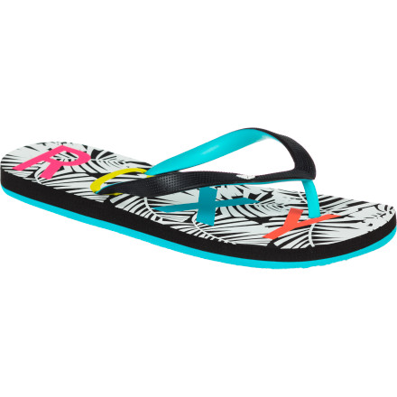 Surf Why have a plain-Jane flip-flop when you can have the two-tone-strapped, bright, and cheery Roxy Women's Tahiti IV Flip Flop A fun and doubly colorful rubber strap keeps your foot secure, while a bold-printed, dual-density EVA footbed provides sand-loving support. - $12.80