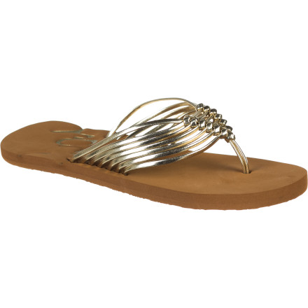 Surf Class up your rubbery flip-flop wardrobe with the sleek and sexy multi-strap Roxy Women's Del Sol Flip Flop. Knotted skinny straps and a fancy script logo are made for a beach diva, but the comfy EVA footbed and Roxy surf style keep it casual. - $20.80