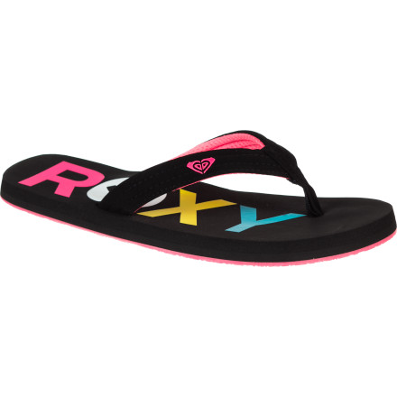 Surf Functional and sea-friendly, the Roxy Women's Low Tide Flip Flop may be your best bet for amphibious footwear. Synthetic nubuck strap, web lining, and foam and rubber construction can handle wet sand, seaside showers, and the long walk home. A soft gel print adds surf-loving style and a splash of color. - $19.20