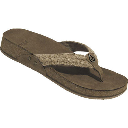 Surf Cork midsoles and braided jute straps give the Reef Women's Hamacita Sandals a down-to-earth look. An antiqued brass Reef logo on the front of the strap reps your preferred surf brand. The bottom of your foot slides easily over the Hamacita flip-flop's contoured leather footbed, and the rubber and hemp outsole has a barely-there profile. - $10.99
